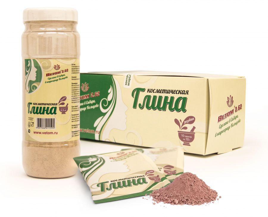 Косметическая глина розовая (пакетик 10г)