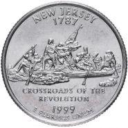 ХАЛЯВА!!! 25 центов США 1999г - штат Нью Джерси, VF - Серия Штаты и территории