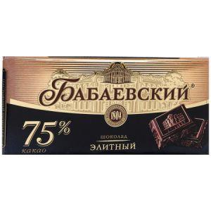 Шоколад ЭЛИТНЫЙ 75% какао БАБАЕВСКИЙ 200г