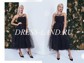 Черное платье длины миди