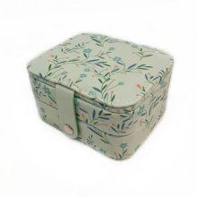 Компактная шкатулка для ювелирных изделий, Цвет: Зелёный, Орнамент: Полевые цветы
