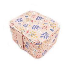 Компактная шкатулка для ювелирных изделий, Цвет: Розовый, Орнамент: Полевые цветы