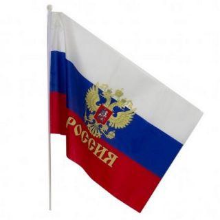 Флаг России с гербом на пластиковом древке