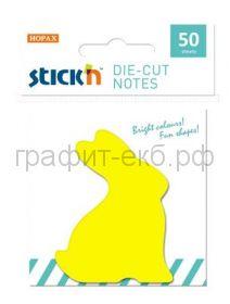Блок кл.50л.Кролик фигурный желтый STICK'N НОРАХ 21772