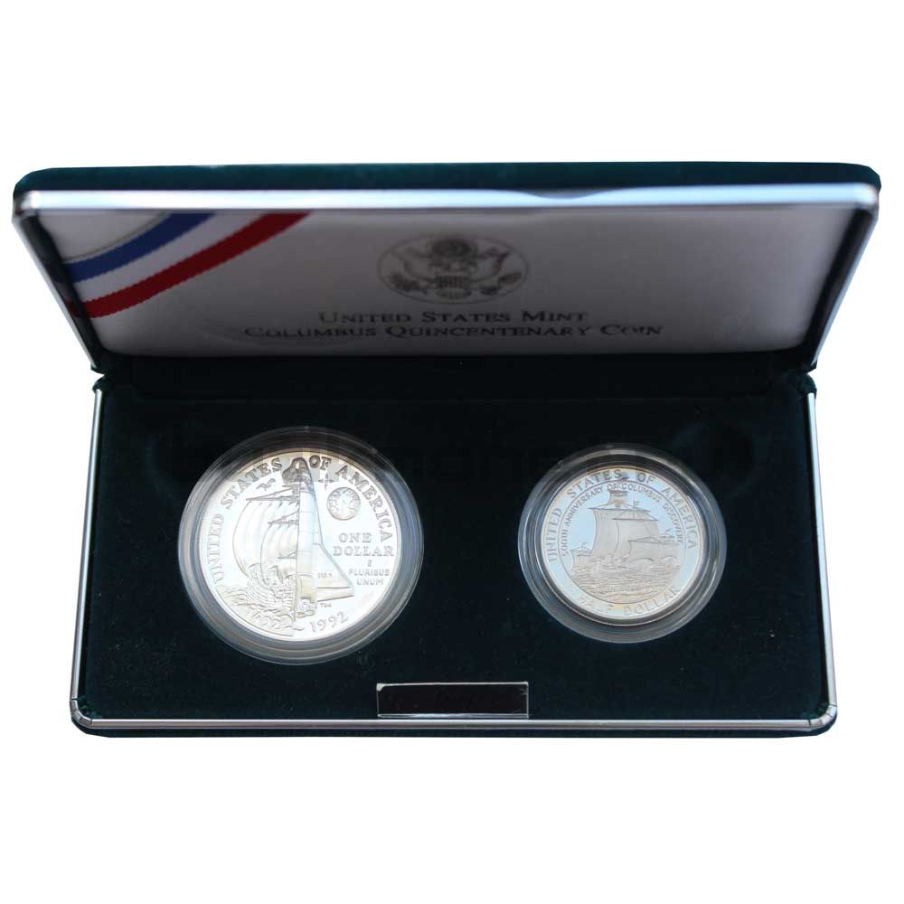 Набор монет 1992 США 500 лет путешествию Колумба (2 монеты)