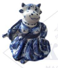 Корова-Барыня Гжель. 10х9х9см Авторская работа, символ 2021 года