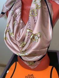 Шелковый платок Hermes (розовый нюд), арт.047