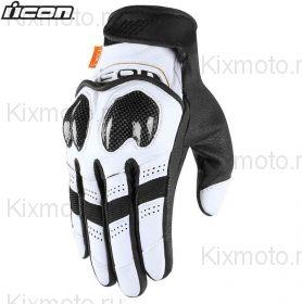 Мотоперчатки кожаные Icon Contra2 , Бело- черные