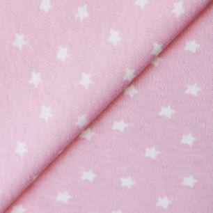 Лоскут трикотажной ткани Розовый в белую звёздочку