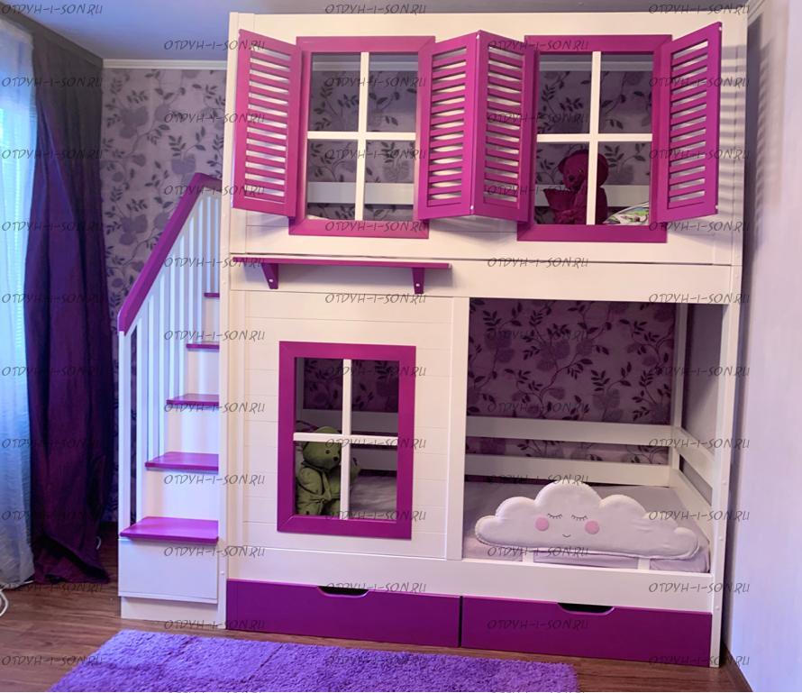 Кровать двухъярусная Домик Village с лестницей-комодом