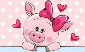Алмазная мозаика «Влюбленная свинка» 20x30 см