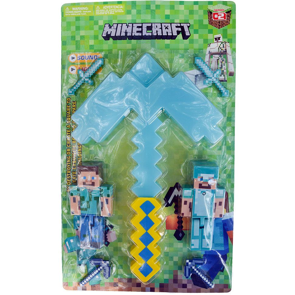Алмазная кирка из Майнкрафт и персонажи