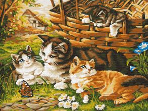Картина по номерам «Котята на прогулке» 30x40 см