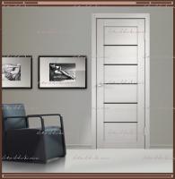 Межкомнатная дверь LINEA 1  Дуб белый, стекло - ЛАКОБЕЛЬ Чёрное :