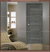 Межкомнатная дверь LINEA 1  Дуб Шале Графит, стекло - Мателюкс :