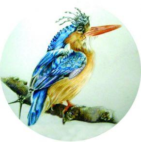 Вышивка крестиком «Птица на ветке» 21x21.