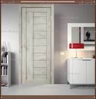 Межкомнатная дверь LINEA 3  Дуб Шале Седой, стекло - Мателюкс :