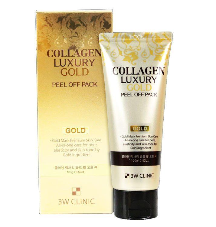 Маска-плёнка 3W Clinic Collagen & Luxury Gold Peel Off Pack. Золотая маска-плёнка для очищения лица с коллагеном.