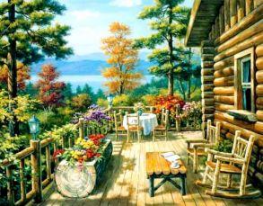 Алмазная мозаика «Летом в деревне» 40x50см.