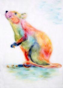 Картина шерстью «Радужная мышка» 20x30.