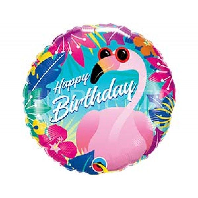 """Круг """"HAPPY BIRTHDAY"""" Фламинго"""