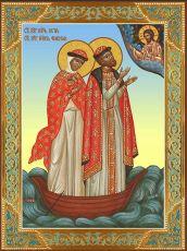 Икона Пётр и Феврония в лодке