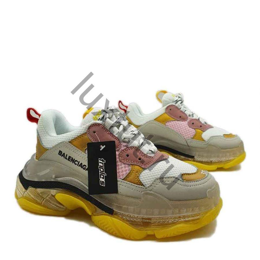 Кроссовки Balenсiagа Triple s желто-розовые