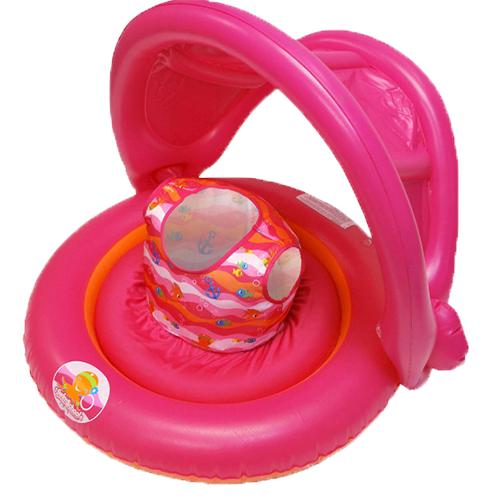 Универсальный надувной круг с навесом 2-in-1 Baby Boat (для девочек).