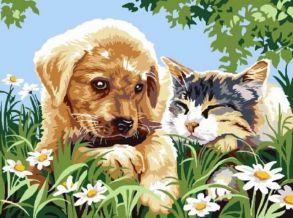 Картина по номерам «Милые друзья» 30x40 см