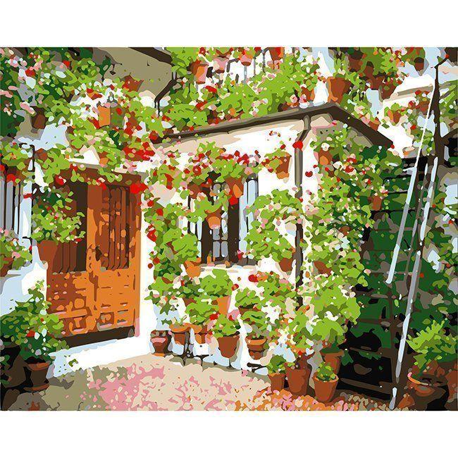 Роспись по холсту Стена с цветами 40*50 см HS0053