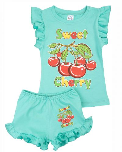 """Костюм для девочек 1-4 лет Bonito kids """"Sweet Cherry"""" светло-бирюзовый"""