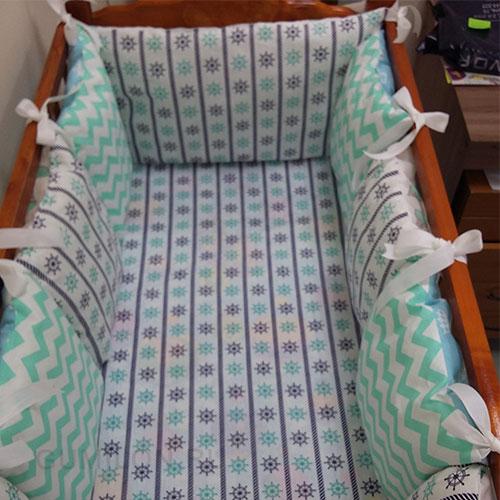 Бортики домики - 12 подушек на кроватку 120*60 см + простынь на резинке
