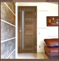 Межкомнатная дверь PREMIER 3  Орех Золотой, стекло - Мателюкс :