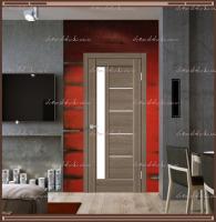 Межкомнатная дверь PREMIER 3  Ильм европейский, стекло - ЛАКОБЕЛЬ Белое :