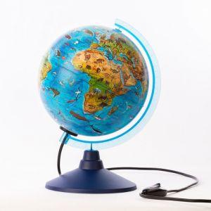 Глoбус зоогеографический, детский «Классик Евро», диаметр 210 мм, с подсветкой