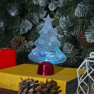 """Подставка световая """"Елочка с шариками"""", 14х9.5 см, 1 LED, батарейки в комплекте, RGB 2446493"""