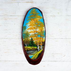 """Панно на спиле """"Осень"""", 27-31 см, каменная крошка, вертикальное 4022901"""