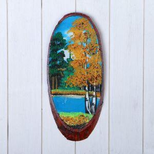 """Панно на спиле """"Осень"""", 35 см, каменная крошка, вертикальное 1144309"""