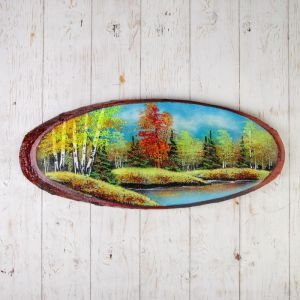 """Панно на спиле """"Осень"""", 65 см,  каменная крошка, горизонтальное 2965348"""