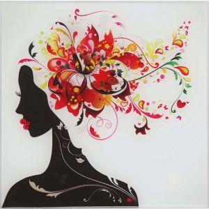 """Картина на стекле """"Девушка в цветах"""" лилия"""