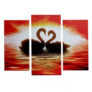 "Модульная картина на подрамнике ""Лебеди"", 2 шт. — 25?50, 1 шт. — 30?60, 60?80 см"
