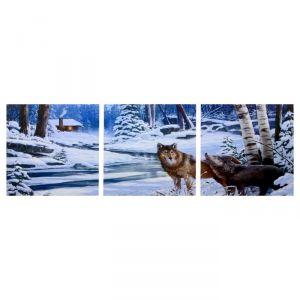 "Модульная картина ""Волки в зимнем лесу"" (3-35х35) 35х105 см 4983591"