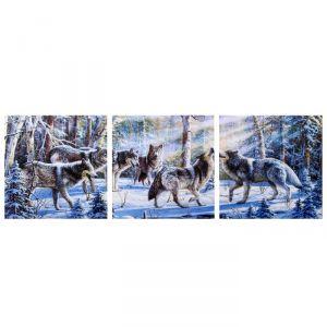 "Модульная картина ""Волчья стая"" (3-35х35) 35х105 см 4983598"