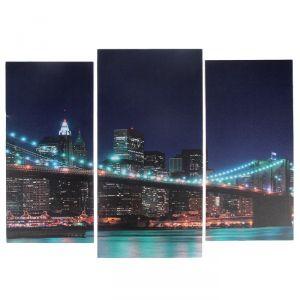 """Модульная картина """"Ночной мост""""  (2-25х52; 1-30х60) 60х80 см   3981603"""
