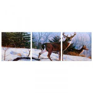 "Модульная картина ""Олени в зимнем лесу"" (3-35х35) 35х105 см 4983599"