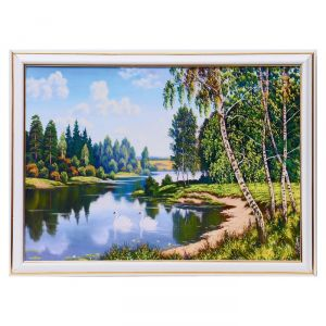"""Картина """"Лебеди в лесной реке"""" 25х35 см (28х38см) 4832453"""