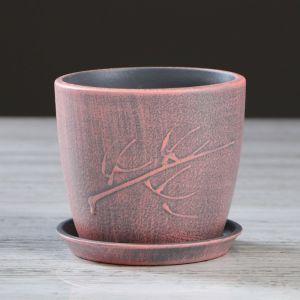 "Кашпо ""Осень"" розовое, патина, 0,5 л"