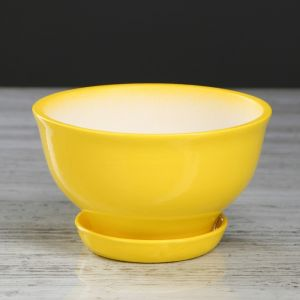 """Цветочный горшок """"Фиалка"""" 0,6 л, глазурь, жёлтый 4911565"""