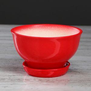 """Цветочный горшок """"Фиалка"""" 0,6 л, глазурь, красный 4911566"""
