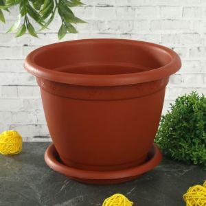 """Горшок для цветов с поддоном 1,5 л, d=17 см """"Борнео"""", цвет терракотовый"""